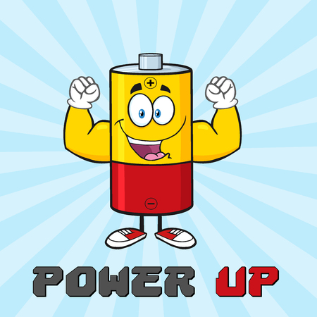 flexing: Happy Battery Cartoon Mascot Character Flexing. Illustration Poster With Text Power Up And Background