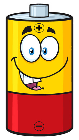 Happy Battery Cartoon Mascot Character. Illustration Isolated On White Banco de Imagens