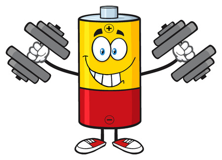 working out: Smiling Battery Cartoon Mascot Character Working Out With Dumbbells