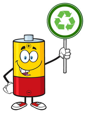 recycle sign: Cute Battery Cartoon Mascot Character Holding A Recycle Sign