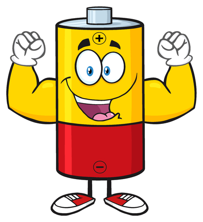 flexing: Happy Battery Cartoon Mascot Character Flexing. Illustration Isolated On White