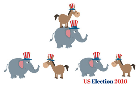 republican elephant: Angry Political Elephant Republican Vs Donkey Democrat. Set Collection Isolated On White