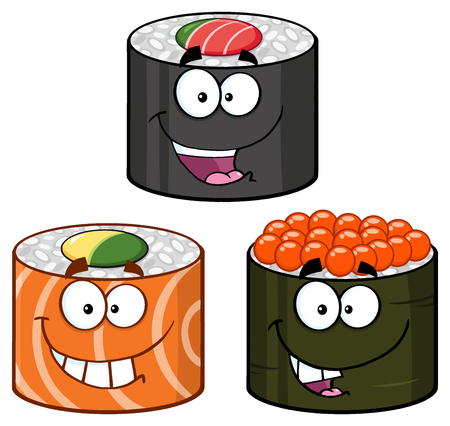Three Sushi Roll Cartoon Mascot Characters. Set Collection Isolated On White