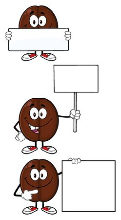 coffee bean: Coffee Bean Cartoon Mascot Character 06. Set Collection Isolated On White