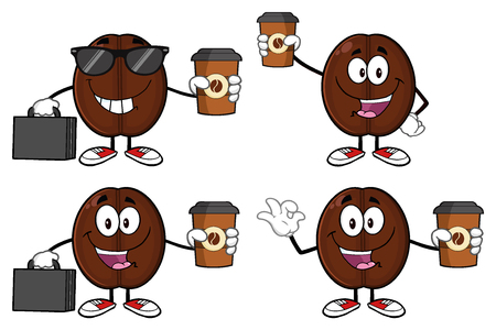 Coffee Bean Cartoon Mascot Character 04. Set Collection Isolated On White