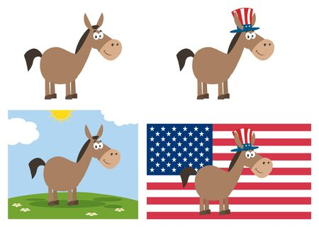 campaign promises: Democrat Donkey Cartoon Character. Set Collection Isolated On White Stock Photo