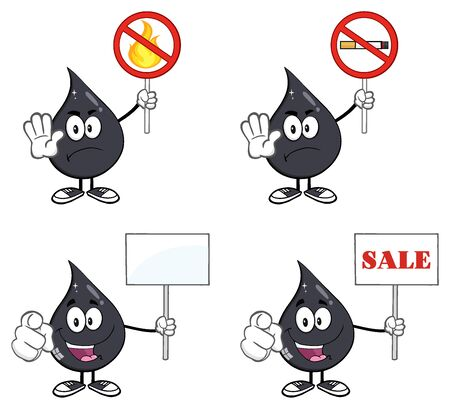 03: Petroleum Or Oil Drop Cartoon Character 03. Set Collection Isolated On White Stock Photo