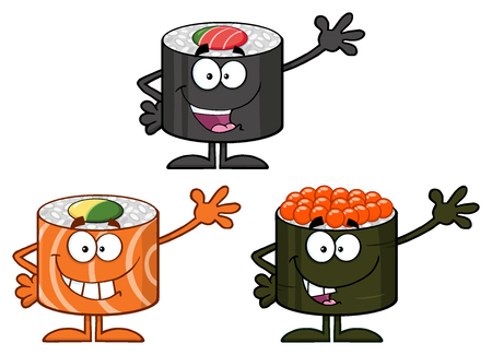 Cute Sushi Rolls Cartoon Mascot Characters. Set Collection Isolated On White