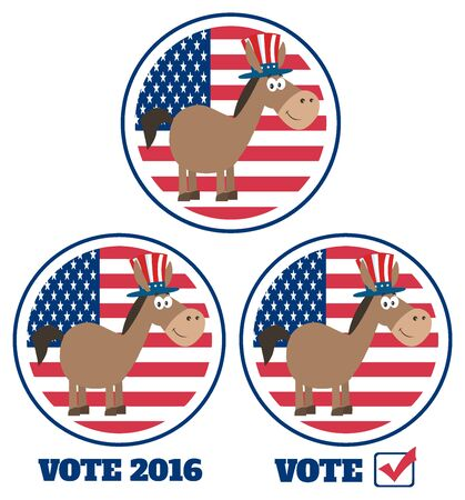 campaign promises: Democrat Donkey Cartoon Character Labels. Set Collection Isolated On White Stock Photo