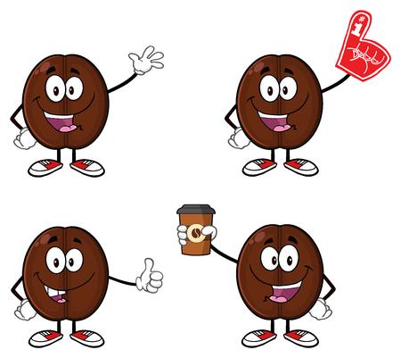 Coffee Bean Cartoon Mascot Karakter 01. Set collectie op een witte Stockfoto
