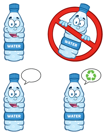 Restricted Symbol Over A Water Plastic Bottle Cartoon Mascot Character. Set Collection