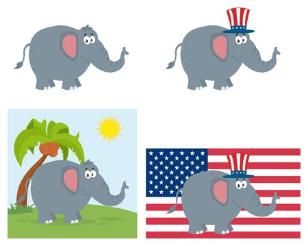 republican elephant: Republican Elephant Cartoon Character. Set Collection Isolated On White