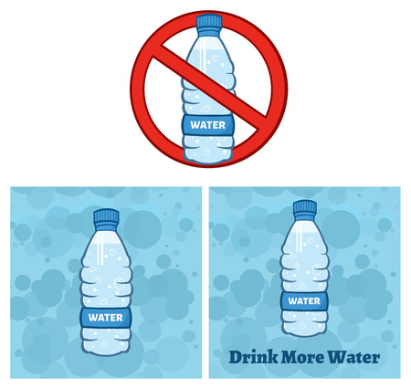 Restricted Symbol Over A Water Plastic Bottle Cartoon Illustration. Set Collection Isolated On White