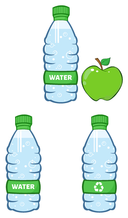 Water Plastic Bottle And Green Apple Cartoon Illustration. Set Collection Isolated On White
