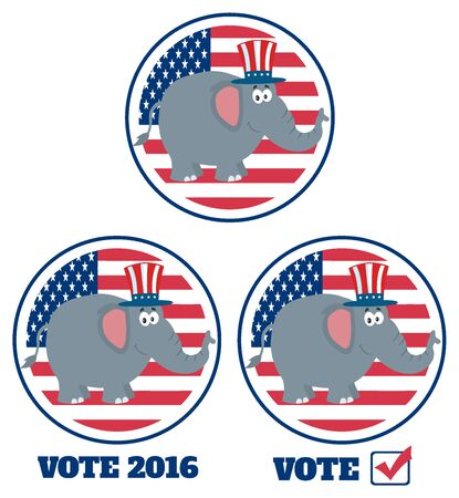 republican elephant: Republican Elephant Cartoon Character Labels. Set Collection Isolated On White