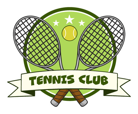 backhand: Crossed Racket And Tennis Ball Design Label. Illustration Isolated On White And Text Tennis Club
