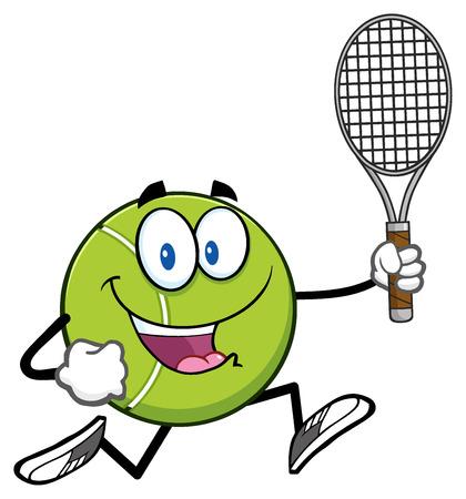 Tennis Ball Cartoon Character Running With Racket