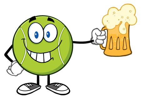 笑みを浮かべてテニス ボール漫画文字がビールを保持しています。 写真素材