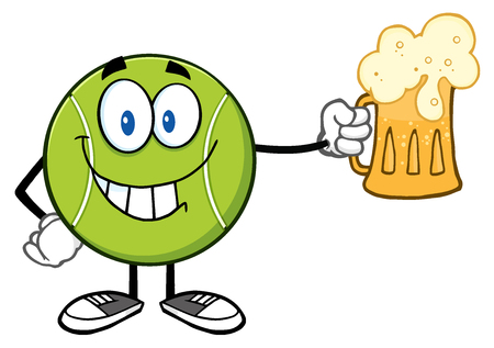 Smiling Tennis Ball Cartoon Character Holding A Beer.