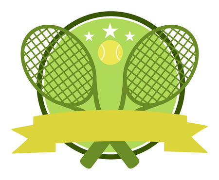 backhand: Crossed Racket And Tennis Ball Design Green Label