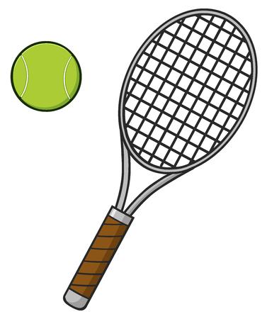 Cartoon palla da tennis e racchetta Archivio Fotografico