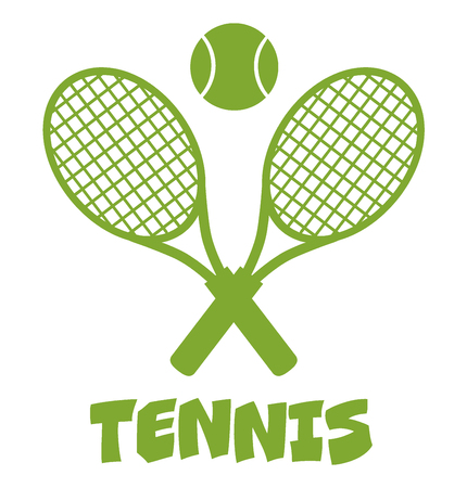 backhand: Green Crossed Racket And Tennis Ball. Illustration Isolated On White With Text Tennis