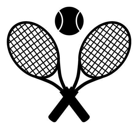 backhand: Crossed Racket And Tennis Ball Black Silhouette