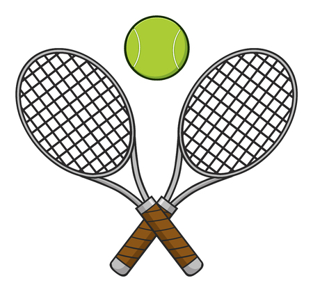 backhand: Crossed Racket And Tennis Ball. Illustration Isolated On White