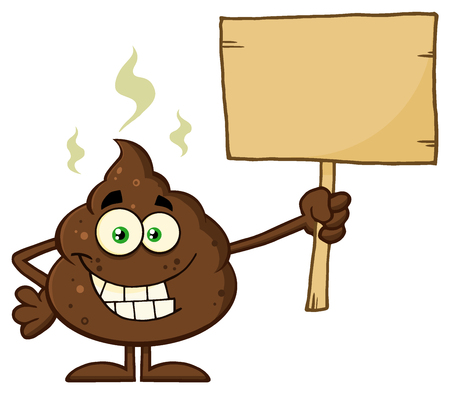 dung: Funny Poop Cartoon Mascot Character Holding A Blank Wood Sign Stock Photo
