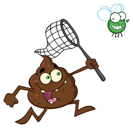 stinky: Funny Poop Cartoon Character Catching A Fly With A Net. Illustration Isolated On White Background Stock Photo