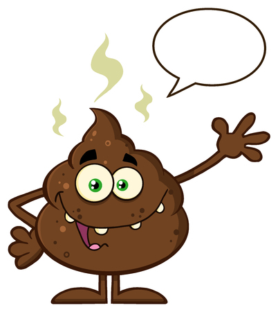 bullshit: Funny Poop Cartoon Character Waving For Greeting With Speech Bubble