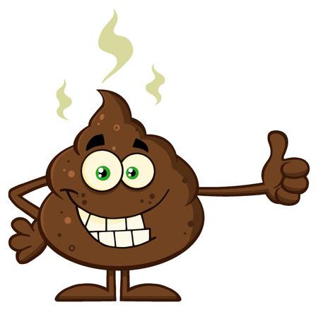humour: Smiling Poop Cartoon Mascot Character Giving A Thumb Up Stock Photo