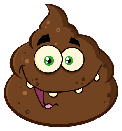 shit: Smiling Poop Cartoon Mascot Character. Illustration Isolated On White Background