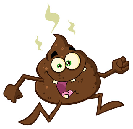 poop: Funny Poop Cartoon Character Running. Illustration Isolated On White Background Stock Photo