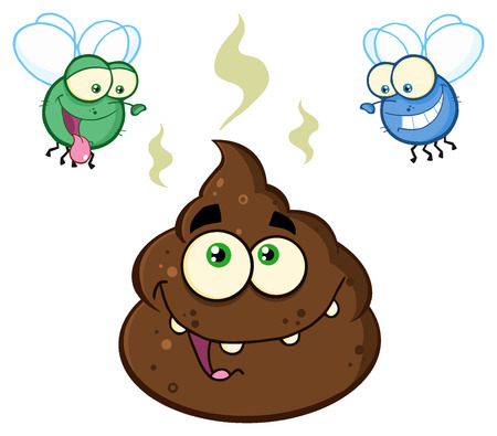 Two Flies Hovering Over Pile Of Happy Poop Cartoon Characters. Illustration Isolated On White Background