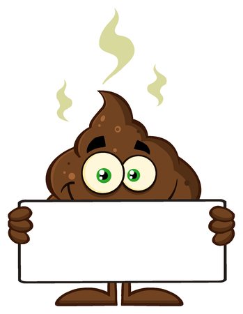 Smiling Funny Poop Cartoon Character Holding A Blank Sign