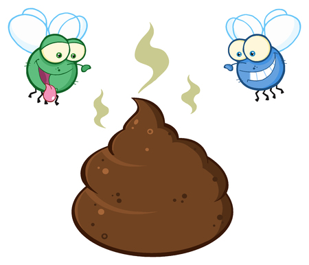 Two Flies Hovering Over Pile Of Smelly Poop Cartoon Characters. Illustration Isolated On White Background