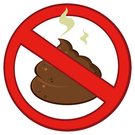 shit: Stop Prohibition Sign Over Pile Of Smelly Poop Stock Photo