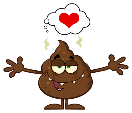 dung: Happy Funny Poop Cartoon Character With Open Arms And A Heart Stock Photo