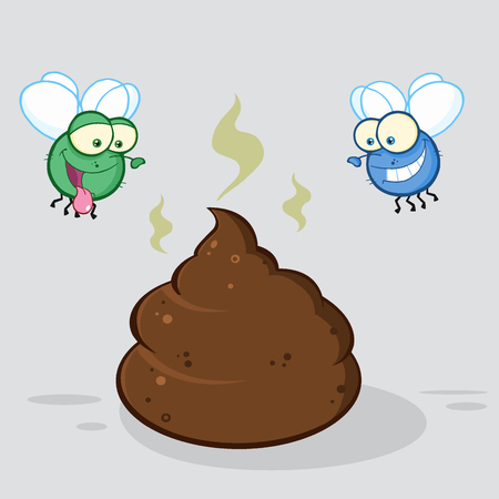 fart: Two Flies Hovering Over Pile Of Smelly Poop Cartoon Characters. Illustration With Background