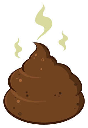 excrement: Cartoon Pile Of Smelly Poop. Illustration Isolated On White Background