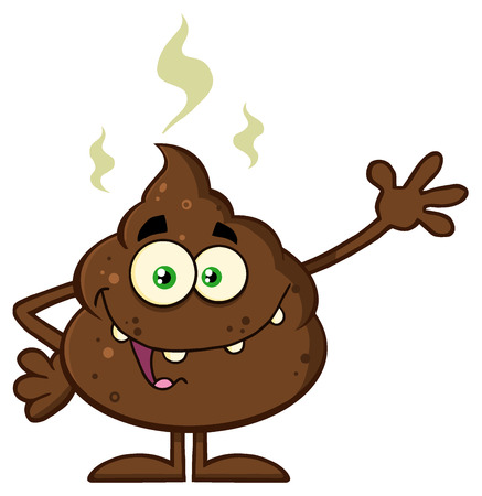 dung: Funny Poop Cartoon Character Waving For Greeting. Illustration Isolated On White Background