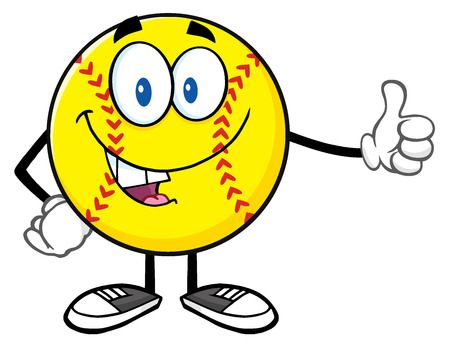 fastpitch: Smiling Softball Cartoon Mascot Character Giving A Thumb Up