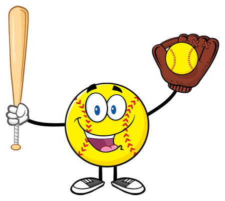 fastpitch: Happy Softball Player Cartoon Character Holding A Bat And Glove With Ball