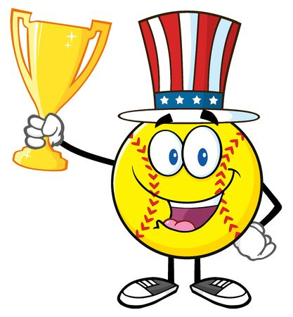 fast pitch: Happy Softball Cartoon Character With Patriotic Hat Holding A Trophy Cup