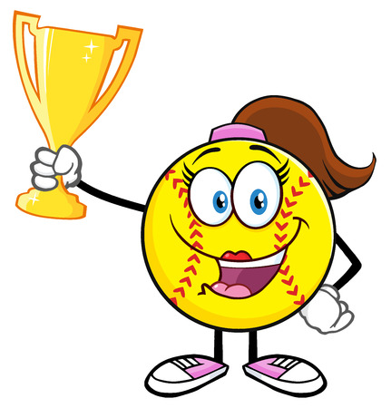 hardball: Happy Softball Girl Cartoon Character Holding A Trophy Cup Stock Photo