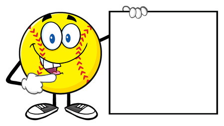 Talking Softball Cartoon Mascot Character Pointing To A Blank Sign Stock Photo