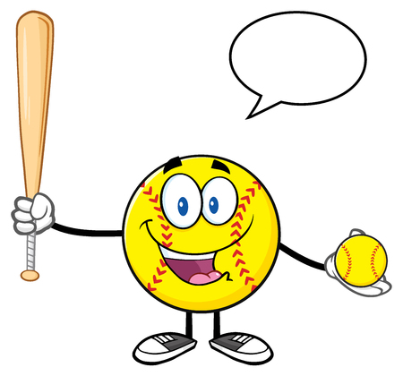 Talking Softball Player Cartoon Character Holding A Bat And Ball With Speech Bubble