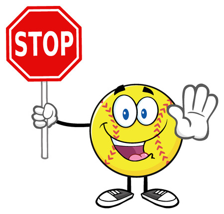 Funny Softball Cartoon Mascot Character Gesturing And Holding A Stop Sign Stock Photo