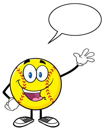 fastpitch: Happy Softball Cartoon Character Waving For Greeting With Speech Bubble